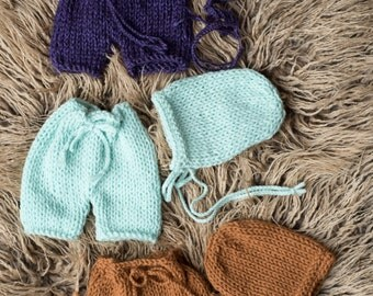 RTS Handmade Knitted Shorts and Bonnet Newborn Set