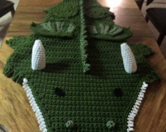 Crocheted Dragon cocoon blanket