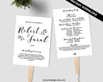 Wedding Program Template, Printable Program, Wedding Fan, Instant Download, DIY Wedding Program, Fan Program, Program Template, Rustic, 33