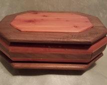 Handmade Jewelry Box Six Sided Adirondack Red Cedar With Walnut Accents One of a Kind Jewelry Storage Organization
