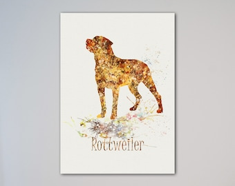 Rottweiler Dog Breed Poster Animal Art Print Pet Portrait Illustration
