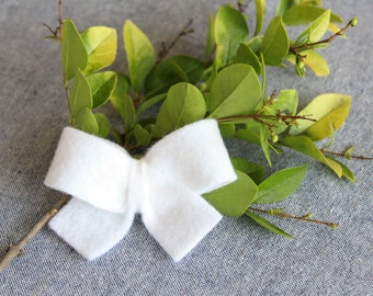 White Felt Hair Bow