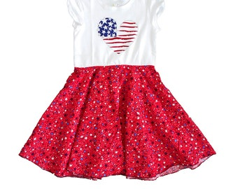 Patriotic Toddler Girls' Twirly T-Shirt Dress, Red White and Blue