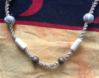 Blue and White Beaded Hemp Necklace
