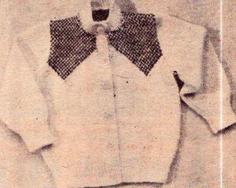 Genuine Vintage Baby Unusual V-Yoke Cardigan with High Collar Knitting Pattern PDF