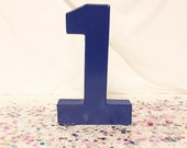1st Blue Birthday Table Number {Stand Alone - 8in Paper Mache / cardboard }