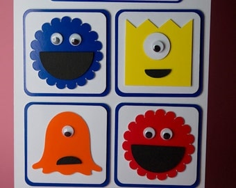 Four Monsters Childrens Handmade Birthday Card