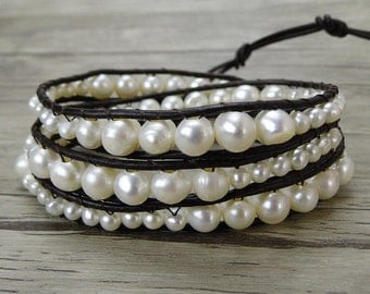 Leather pearl bracelet freshwater pearl bracelet boho wrap bracelet pearl wrap bracelet bead wrap bracelet pearl stacking bracelet SL-0441