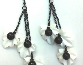 Stunning Black and White Earrings, black chain white bead earrings, one-of-a-kind, unique gift