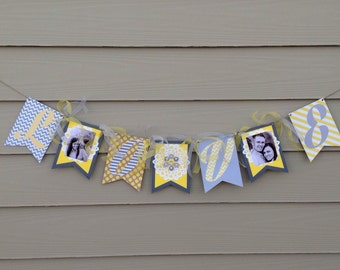 Wedding banner*love banner*gray*yellow*lace*vintage wedding*fringe by sj