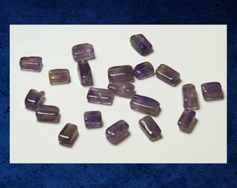 Amethyst - Square tube rectangle 5x8mm. Set of 20 natural gemstone stone beads.(Half strand)  #AMY-017