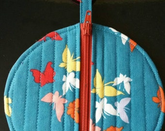 Butterfly fabric round pouch