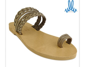 Theia - Greek Leather Sandals with lovely braided straps and toe-loop