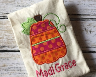 Pumpkin Shirt, Monogrammed Pumpkin Tee, Modern Pumpkin Applique ,Fall Applique,Tshirt,girls,tee,shirt,fall,thanksgiving