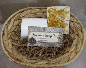 Sunshine soap goats milk soap sweet orange and yuzu cybilla with Calendula petals