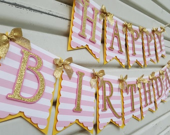 Stripe Pink and Gold Birthday Banner, Pink and Gold Birthday Banner, Pink and Gold First Birthday, Pink and Gold Birthday Party,