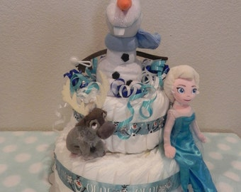 Frozen Diaper Cake w/Goodies Inside