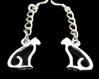 Silver cats earrings