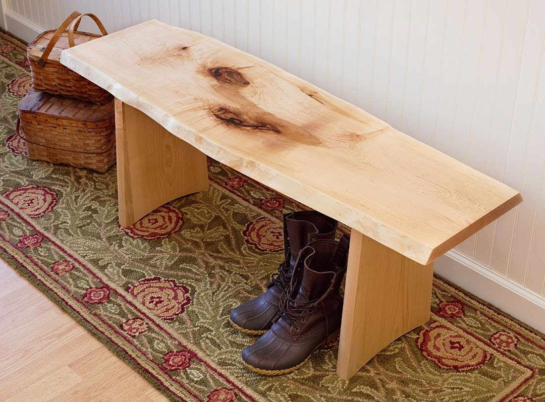 Rustic live edge wood bench for Live edge wood slabs new york