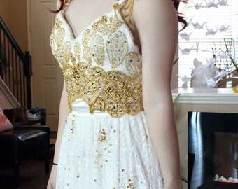 Goddess wedding dress / Boho Sweep Train Dress / Lace wedding dress gown / Cap sleeves dress / Gatsby wedding dress / Vintage wedding dress