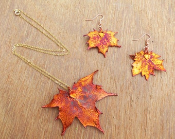 Real Large Sugar Maple Copper Dipped Pendant, Copper Leaf Earrings, Necklace with Copper Plated Earrings, Copper Leaf Jewelry Set, Edel-Heid