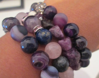 OFFER! Set 4 semi precious stone bracelets