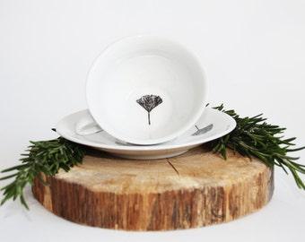 Tea cup Ginkgo Biloba, Screenprint, black and white, tea tableware, nature print, tableware