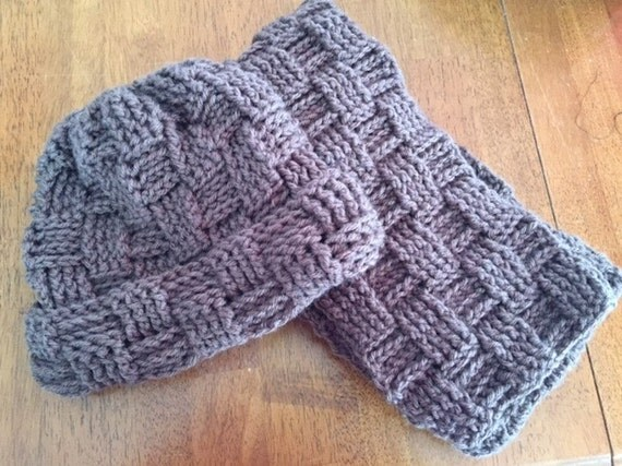 How To Make A Basket Weave Hat : Crocheted basket weave hat and scarf set warm cozy