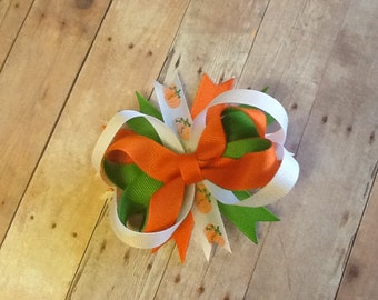 Fall Hairbow, Pumpkin Hairbow, Thanksgiving Hairbow, Infant/Toddlers and Girls Hairbow or Headband