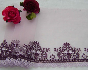 4.30 metres Mauve and Aubergine embroidered tulle lace