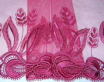 3.00 metres Lovely Claret Embroidered Tulle Lace