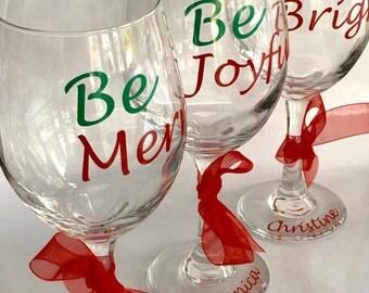 Christmas Wine Glass, Holiday Wine Glass, Christmas Wine Glasses, Personalized Christmas Wine Glass, Personalized Holiday Wine Glasses
