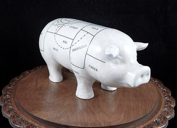 Ceramic Butcher's Shop Pig-11 inch Porcelain Pig- Model Pig Diagram Figure-Butchers shop-butchers Pig-Porcelain Pig