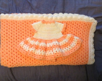 Baby GIrl Afghan with Contrasting Dress