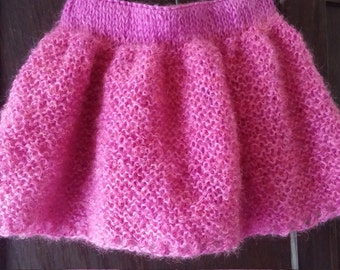 Lacy pink skirt in soft yarn.  Size 12-18 months