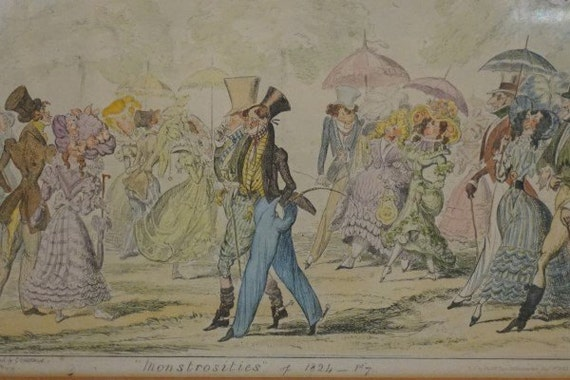 Monstrosities of 1824 - antique fashion caricature