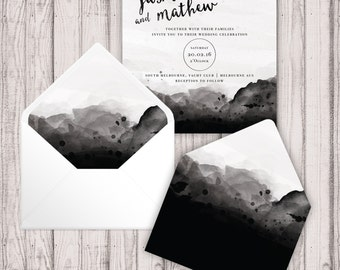 Envelope Liners - Digital - Print At Home - Faded Watercolour Envelope Liners - Printable Envelope Liners