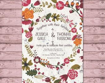 Rustic Wedding Invitation - Print at Home File or Printed Invitations - Rustic Floral Wedding Invite - Digital Invite