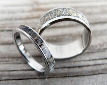 Titanium and Deer Antler Wedding Band Set, Two Wedding Ring, Deer Antler Ring, Bone Ring, Antler Ring, with Engraving