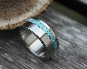 Titanium Ring with Turquoise, Wedding Ring, Engagement Ring, Mens Ring, Titanium Ring, Gift with Engraving