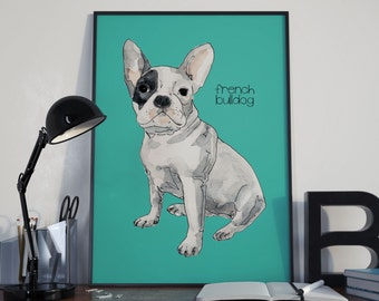 Custom Dog Portrait-Custom Pet Portrait-Giclee Print.Dog Art. Gift. Personalized Dog Portrait. Memorial. Dog Portrait