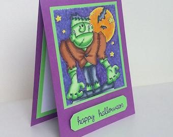 Handmade Frankenstein Card Cute Halloween Card