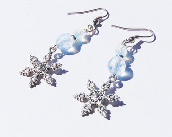 Earrings/Snowflake czech glass Holliday Earrings
