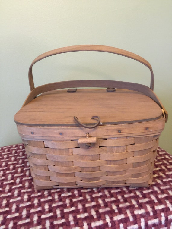 Handmade Small Baskets : Small longaberger handmade picnic basket