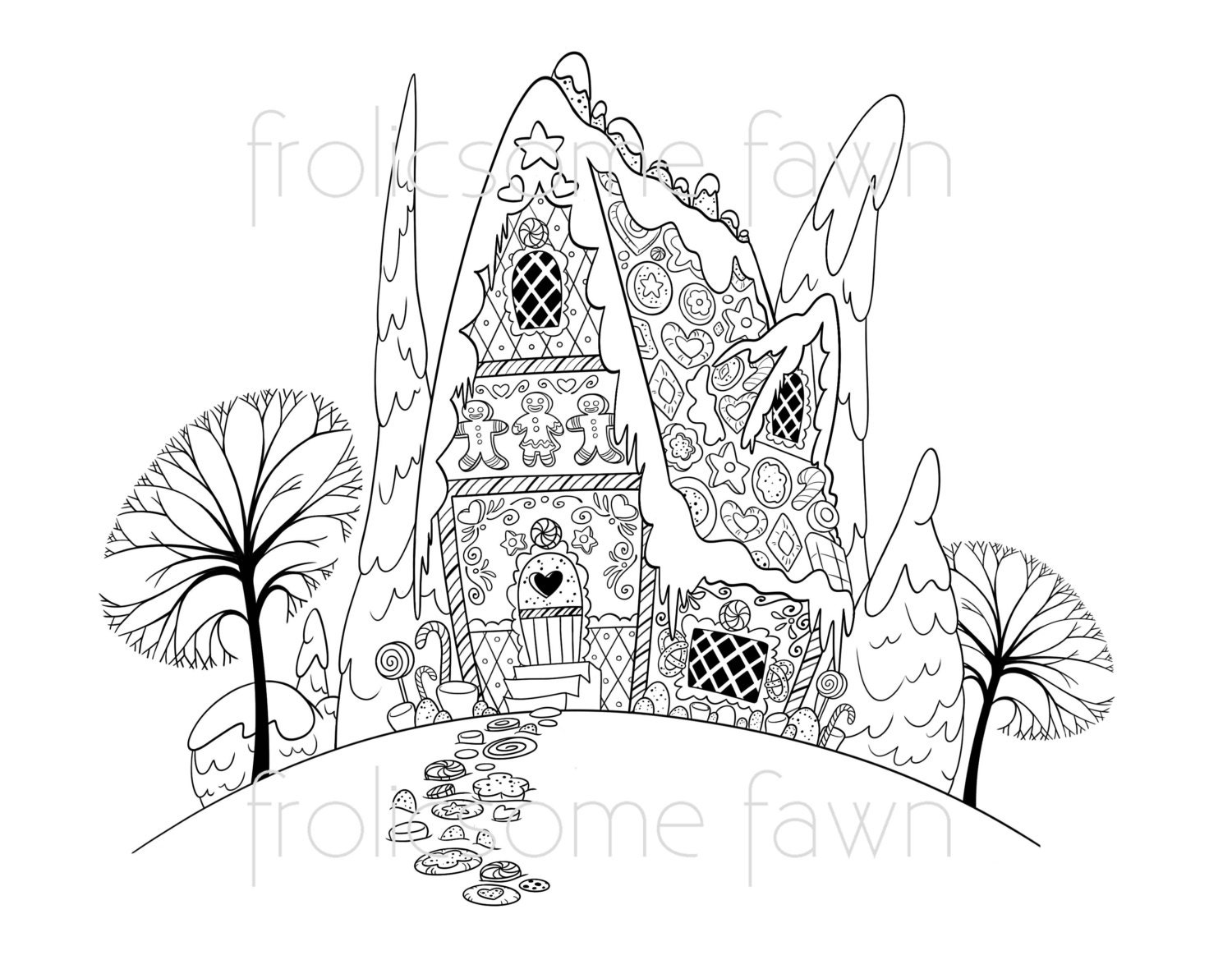 Gingerbread House Coloring Page For Children And Adults