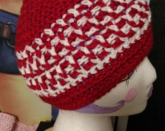 Red and White Crochet Beanie, Red and White Beanie, Red Beanie with White Stripes