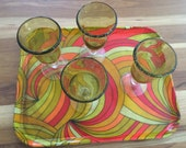 Mid-Century Serving Tray Psychedelic colors