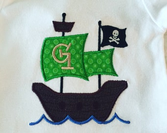 Pirate Ship Applique Onesie