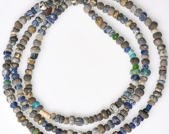 Old Excavated Glass Beads - African Trade Beads - Blue, Gray, or White  - 23 Inch Strand
