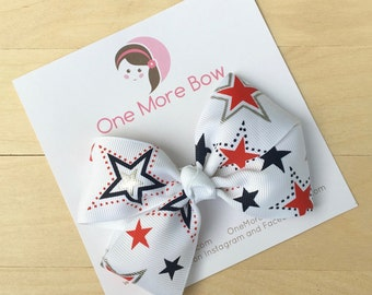 Red White Blue Stars 4th of July Patriotic Hair Bows Hairbows Barrette Clip Clips